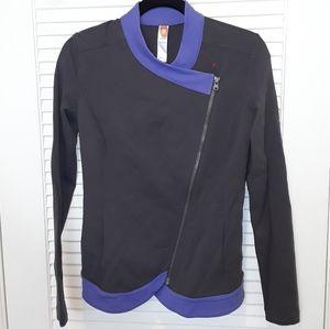 Gray & Purple Zip Up Athletic Style Jacket S/P